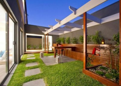 timber seating, grass - paving-min