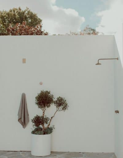 Photo of outdoor shower over crazy paving with olive tree in pot