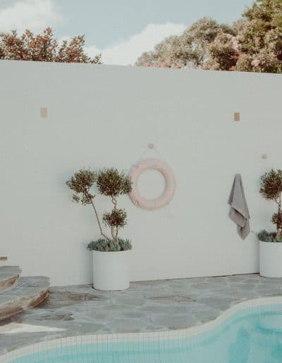 Photo of pool area with crazy paving and olive trees in pots