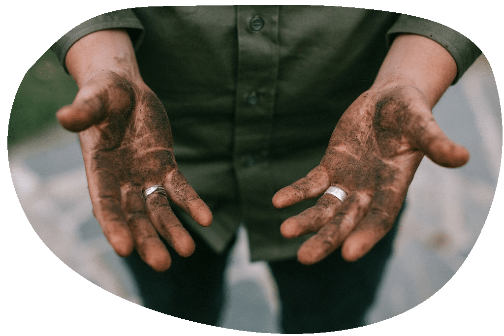 Photo of two hands with dirt from landscaping